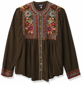 3J Workshop by Johnny was Women's Silk Buttondown Smock Shirt with Embroidery