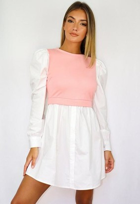 Missguided Pink Sweater Insert Puff Sleeve Shirt Dress