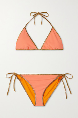 Tooshie Hampton Metallic-trimmed Reversible Bikini - Saffron