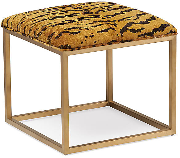 Thumbnail for your product : Massoud Lake Brass Ottoman - Brown