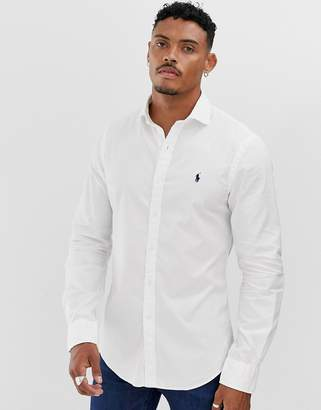 Polo Ralph Lauren slim fit garment dyed oxford shirt phillip collar in navy with player logo-White