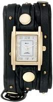 La Mer Women's LMSW1001 Black Gold Stud Analog Display Quartz Black Watch