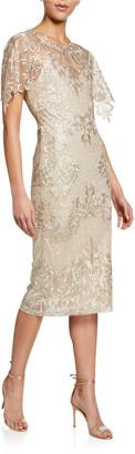 Badgley Mischka Embroidered Lace Sheath Dress