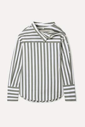 Monse Oversized Asymmetric Striped Cotton-twill Shirt - Green