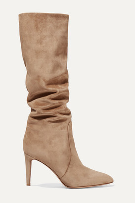 Gianvito Rossi 85 Suede Knee Boots - Camel