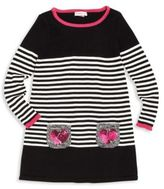 Design History Toddler's & Little Girl's Embellished Striped Dress