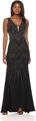 Xscape Evenings Women's Long Allover Bead Ity Vfront