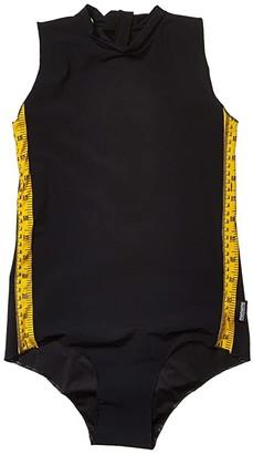 Nununu Sleeveless Measuring Band Swimsuit (Little Kids/Big Kids) (Black) Girl's Swimsuits One Piece