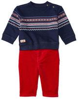 Ralph Lauren Fair Isle Crewneck Sweatshirt w/ Corduroy Pants, Navy, Size 9-24 Months