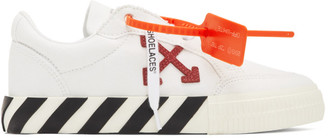 Off-White Off White White and Purple Vulcanized Low-Top Sneakers