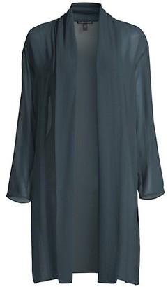 Eileen Fisher High Collar Draped Silk Jacket