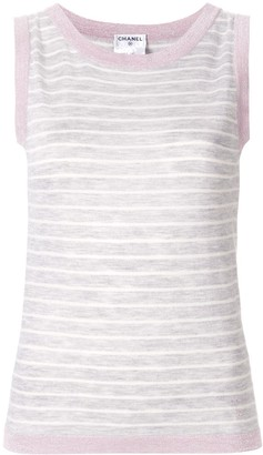 Chanel Pre Owned Glitter Details Striped Tank Top