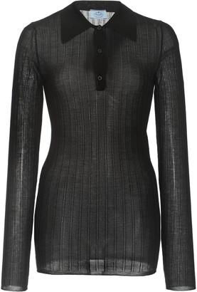 Prada Ribbed Cashmere-Silk Polo Top