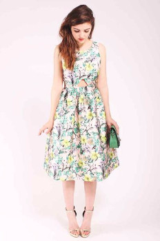 Louche Tully Dress - 14 - Green/Pink