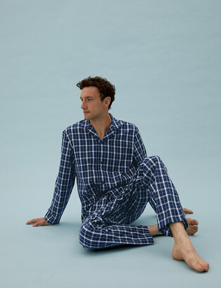 Marks and Spencer Cotton Checked Pyjama Set