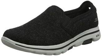 Skechers Men's GO Walk 5 Flint Slip On Trainers, Black (Black Textile/White Trim Blk), 9 (43 EU)