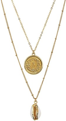 American Coin Treasures Swiss Coin with Gold Plated Cowrie Shell Double Chain Necklace