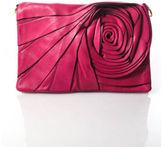 Valentino Pink Leather Gold Tone Rosette Flap Clutch Shoulder Handbag