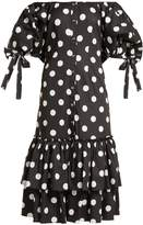 Caroline Constas Nella off-the-shoulder polka-dot dress