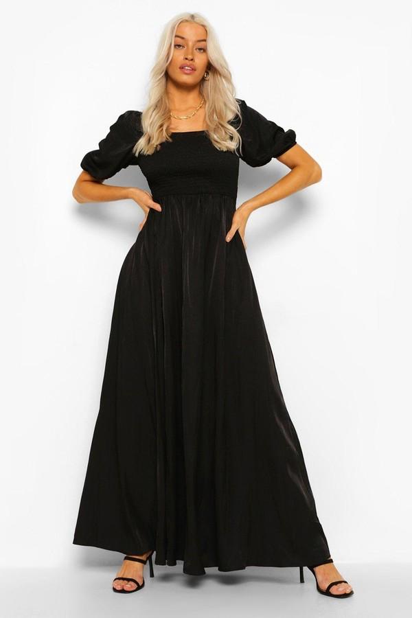 boohoo Shirred Detail 3/4 Sleeve Maxi Dress
