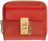 Chloé Red Leather Square Drew Wallet