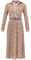 Missoni Surplice-neck Space-knit Cotton-blend Midi Dress - Womens - Orange Multi