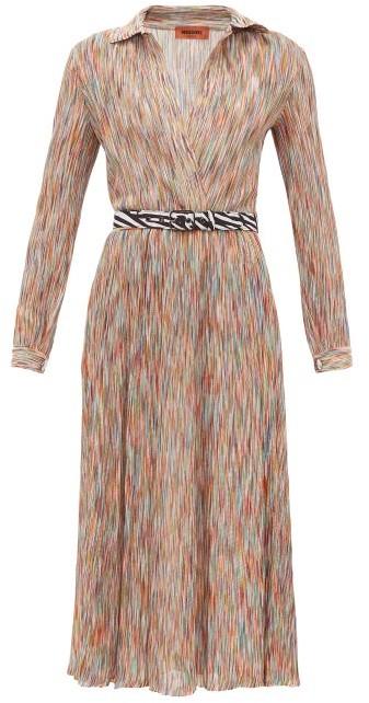 Missoni Surplice-neck Space-knit Cotton-blend Midi Dress - Orange Multi