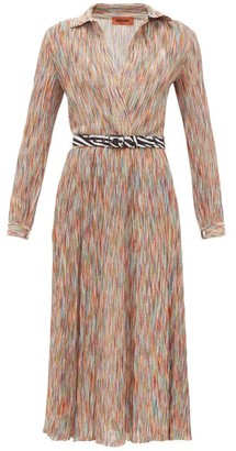 Missoni Surplice-neck Space-knit Cotton-blend Midi Dress - Womens - Orange Multi