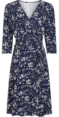 Yumi Ditsy Floral Blue Wrap Dress