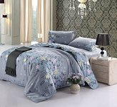 Vaulia Cotton Blend Lightweight Duvet Cover Sets, Floral Print Pattern Design, Grey - King Size