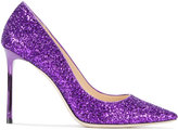Jimmy Choo Purple Glitter Romy 100 pumps