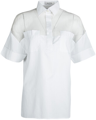 Valentino White Cotton Sheer Yoke Detail Short Sleeve Shirt S