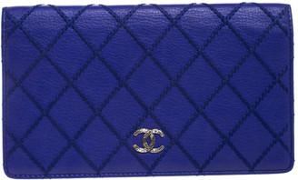 Chanel Purple Wild Stitch Quilted Leather Yen Bifold Wallet
