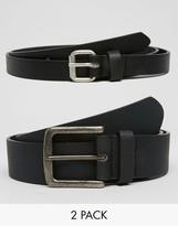Asos Skinny And Slim Belt 2 Pack
