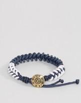 ICON BRAND Plaited Woven Bracelet In Blue/White