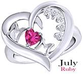 AFFY Simulated Ruby & White Natural Diamond Mom Heart Promise Ring in 14k White Over Sterling Silver