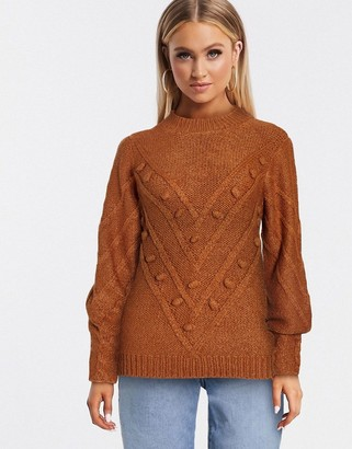 Pieces kulla cable knit jumper in orange