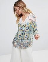 Traffic People Kimono Sleeve Mixed Print Shirt
