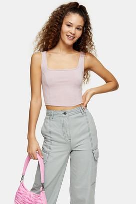 Topshop Womens Pink Double Seam Crop Vest - Pink