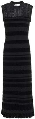McQ Crochet-knit And Chenille Striped Midi Dress