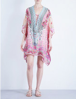 Camilla Lace-up silk-chiffon kaftan