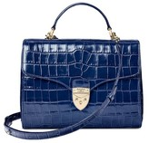 Aspinal of London Mayfair Bag In Deep Shine Navy Croc