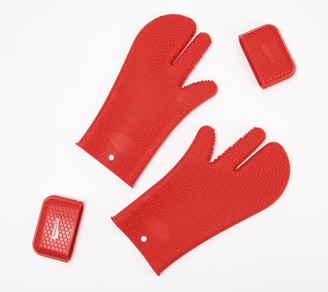 KOCHBLUME 4-Piece Silicone Glove and Pot Protective Set