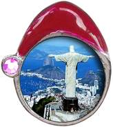 GiftJewelryShop Travel Statue Of Christ The Redeemer Light Amethyst Crystal June Birthstone Santa Hat Charm