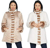 Dennis Basso Reversible Stand Collar Coat withFaux Fur Trim