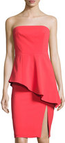 Jay Godfrey Asymmetric-Peplum Midi Dress, Coral Red
