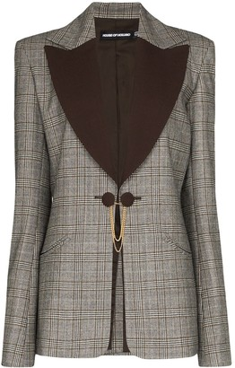 House of Holland Contrast Lapel Checked Blazer