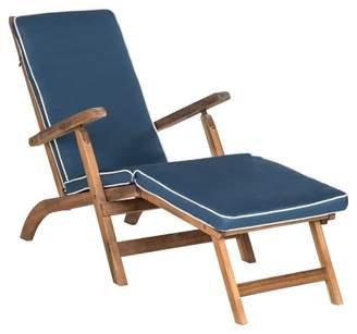 Safavieh Palmdale Folding Lounge Chair - Teak Brown / Navy