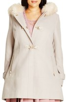 City Chic 'Winter Warm' Faux Fur Trim Duffle Coat (Plus Size)