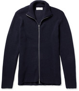 Officine Generale Gus Ribbed Merino Wool Zip-up Sweater - Midnight blue
